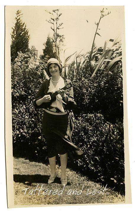 Jean playing ukulele