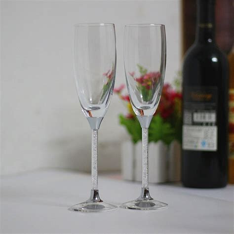 2019 crystal stem toasting wine glasses set wedding
