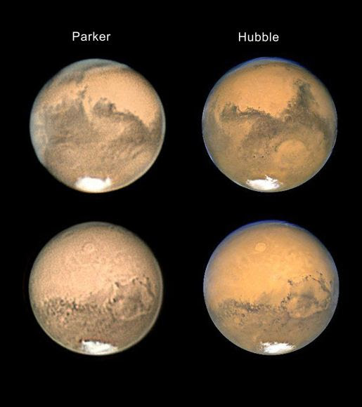 On Earth, Don Parker's Mars images were hard to beat, but the Hubble Space Telescope—six times larger than his 16-inch 'scope and, more importantly, above the atmosphere—easily pulled it off. In this pair of images taken around the time of the planet's closest approach in 2003, the giant volcano Olympus Mons is the small, bright circular feature above center. Image courtesy Andrew Chaikin.