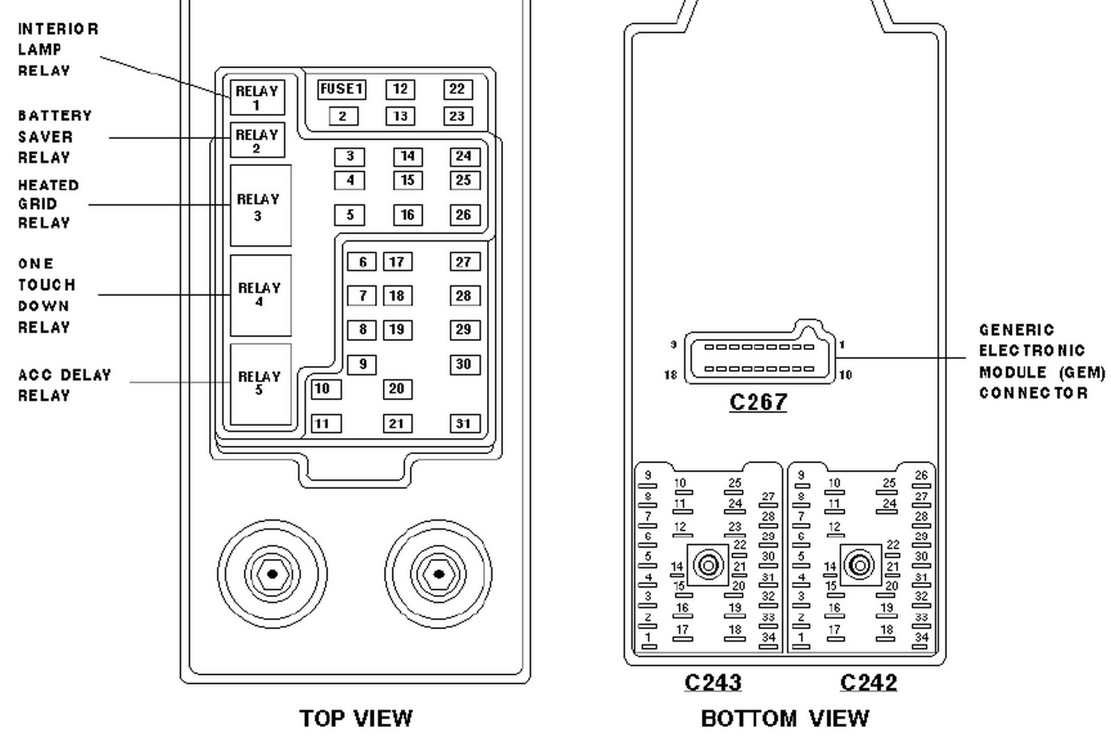 1997 Ford Expedition XLT: the fuse box diagram ... Triton ...