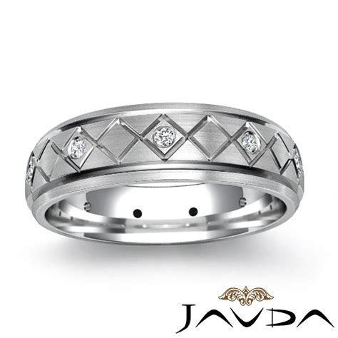 Eternity Wedding Diamond Band Bevel Step Edge Mens Ring
