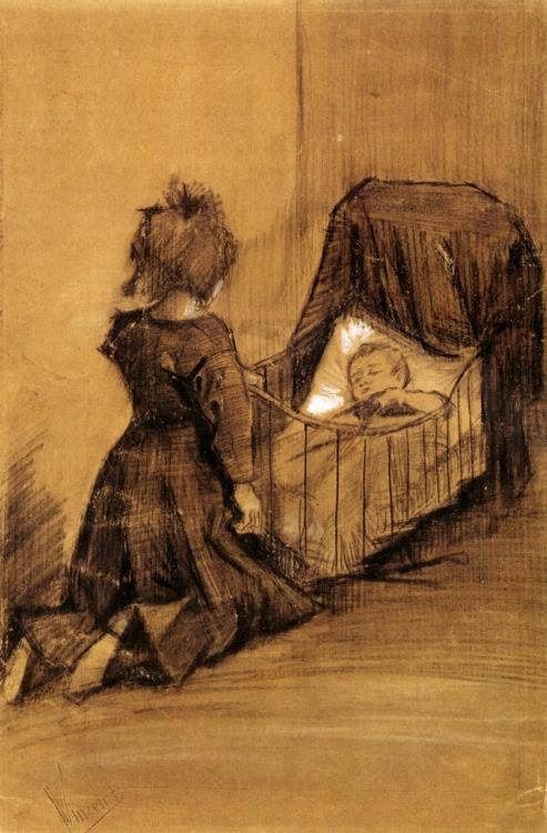 Vincent van Gogh, Girl Kneeling by a Cradle, 1883.