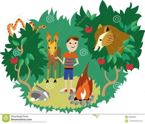 Wild Animals And Human Stock Photo   Image: 56884052