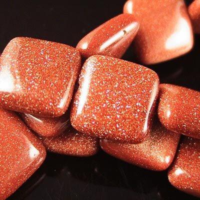 s19065 Stone Beads - 12 mm Square - Goldstone (strand)
