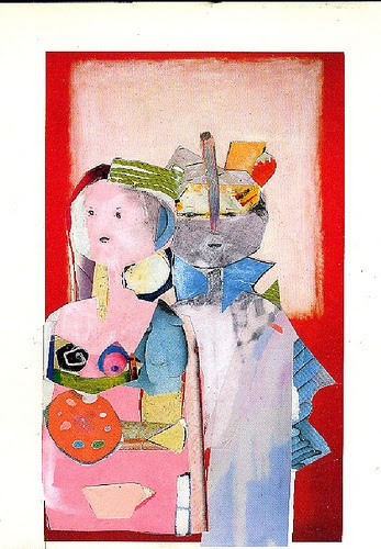 jacqui wegren collage: wedding party bride and groom  no.1 in a series found paper on white card