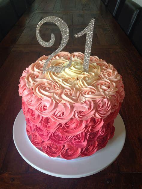 21st birthday cake. Buttercream rosettes..   Birthday