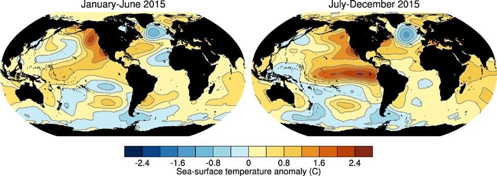 Figure 1. 2015 SST anomalies for Q1 and Q2 compared to the 1981-2010 average. Image Credit: Huang et al. 2014; Liu et al. 2014