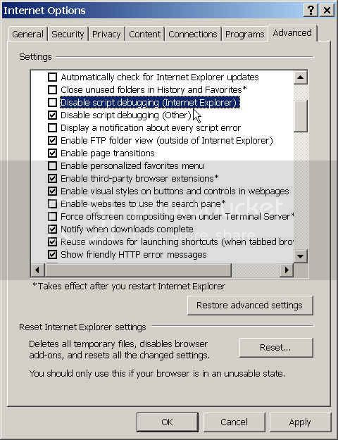 How to enable script debugging on Internet Explorer