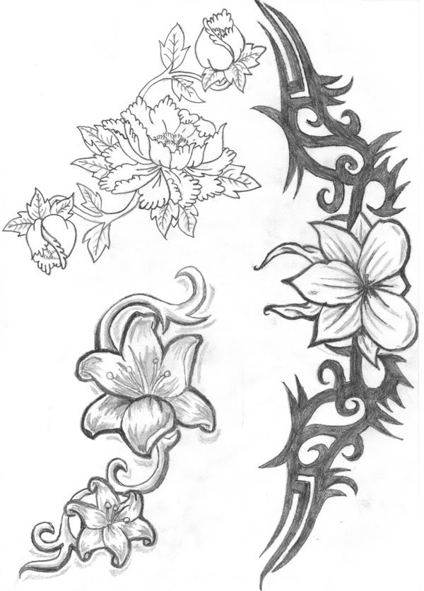 Tribal And Flower Tattoos Designs