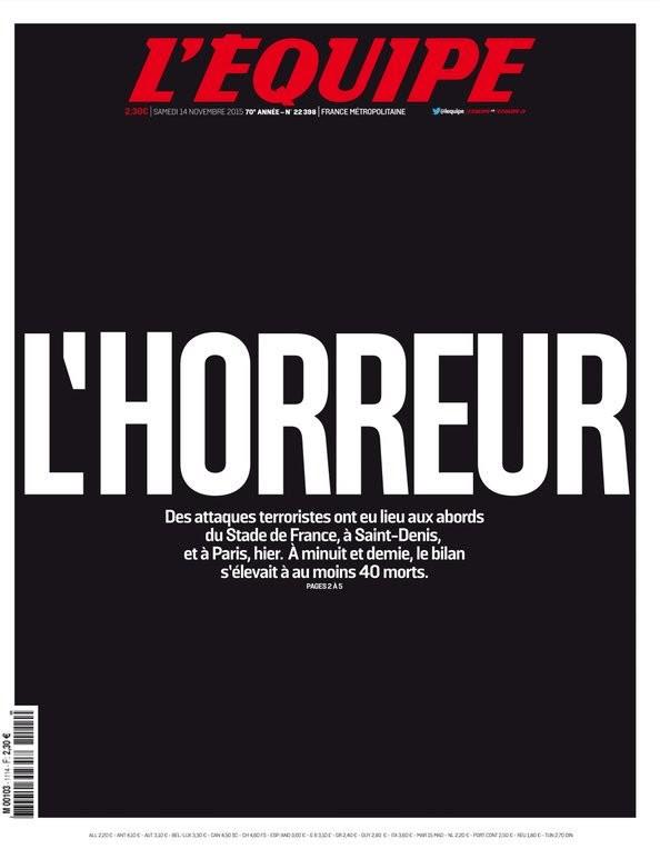 Capa Lequipe atentados Paris