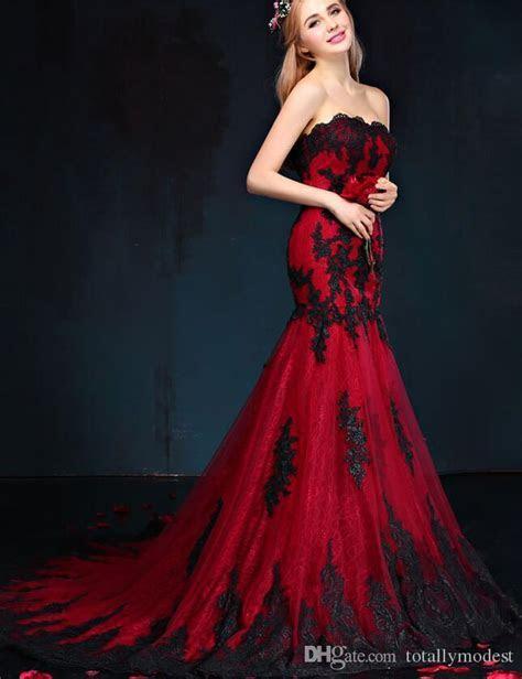 2017 Black And Red Gothic Mermaid Wedding Dresses