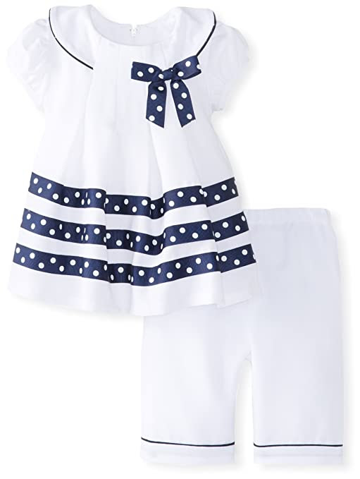 Bonnie Baby Baby-Girls Newborn Poplin Front Pleat Dress with Capri Pants, White, 3-6 Months
