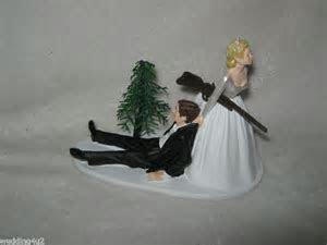 Wedding Party Redneck Shot Gun Cake Topper Bride Dragging