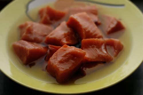 salmon soaking in oil