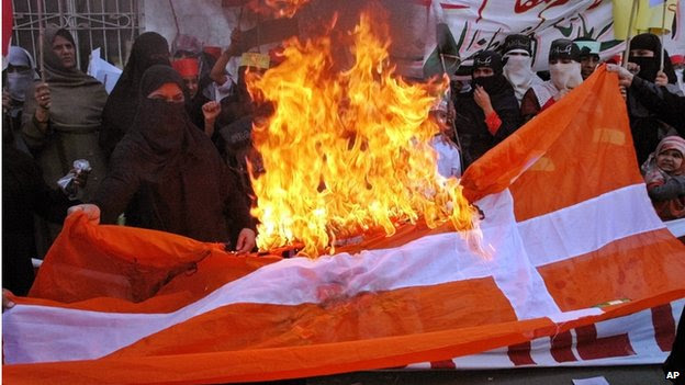 Muslims burning the Danish flag during a Muhammad-cartoons protest