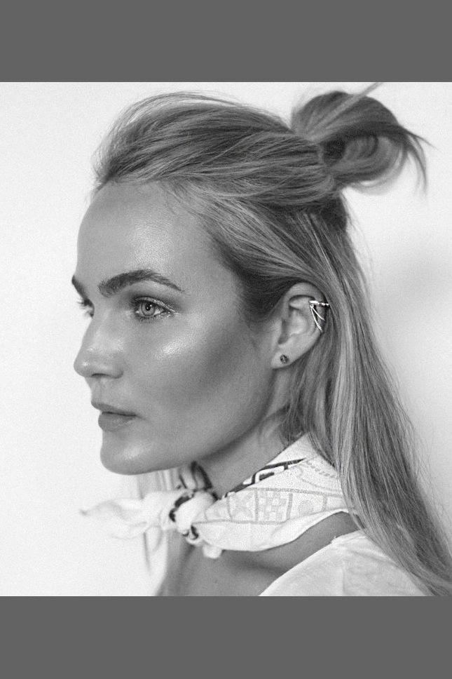 Le Fashion Blog Half Up Top Knot Bold Brows Beauty Ear Cuff Printed Neck Scarf White Tee Australian Blogger Brooke Testoni
