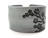 Silver cuff bracelet Asian floral blossoms design, handmade cuff bracelets by theshagbag on Etsy