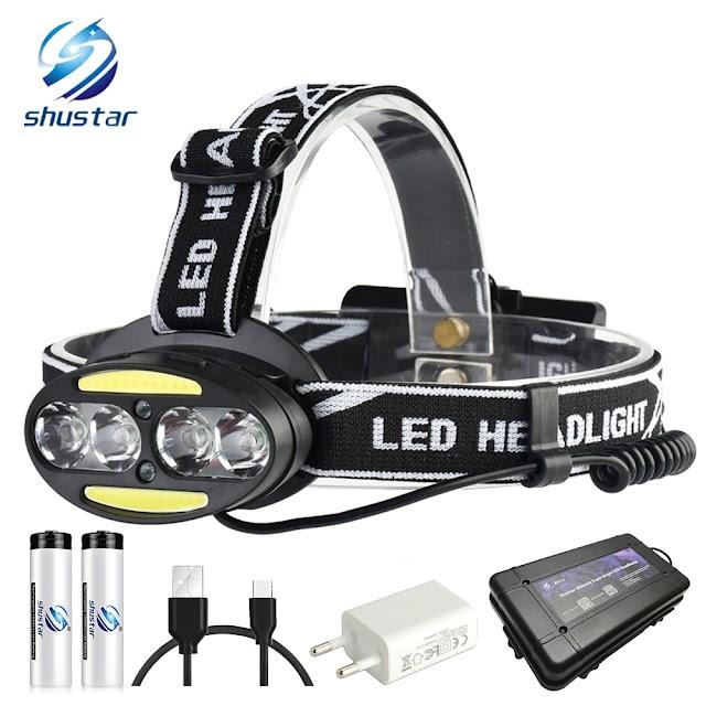 Kopen Goedkoop Super Heldere LED Koplamp 4 X T6 + 2 COB Rode 15000 Lumen Led 7 Verlichting Modi Met Batterijen Oplader Online