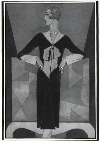 Douglas Pollard illustration of Schiaparelli's bowknot sweater, Vogue, December 1927