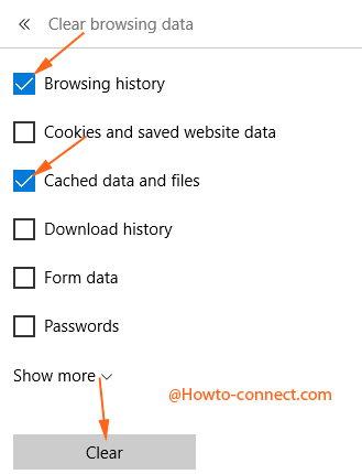 2 options selected on edge browser in clear browsing data
