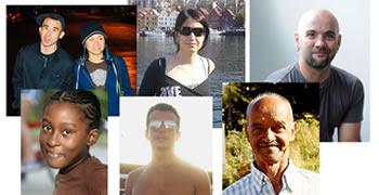 Conjunto de personas mostrando distintos caracteres (razas, calvicie, bronceado de piel, edad..)