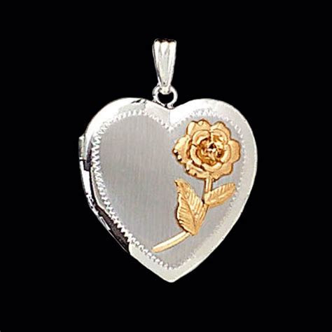 Two Tone Heart Locket with Rose Accent by Gracious Rose