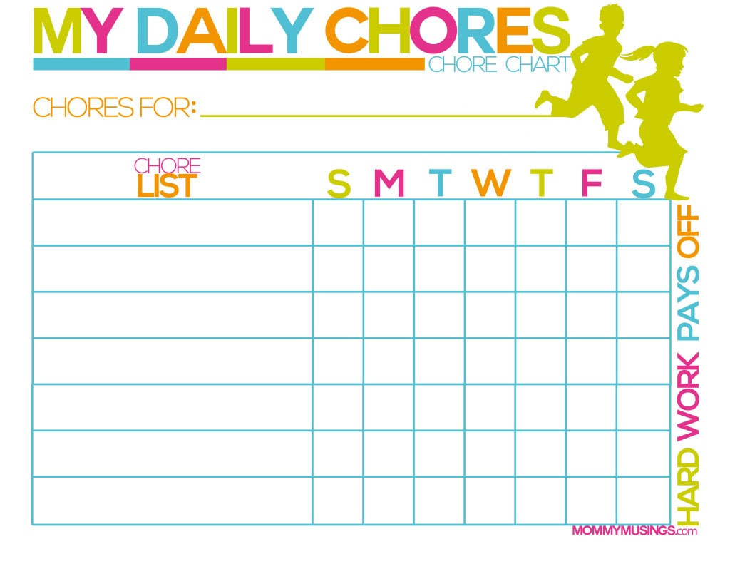 FREE Printable Kids Chore & Rewards Chart