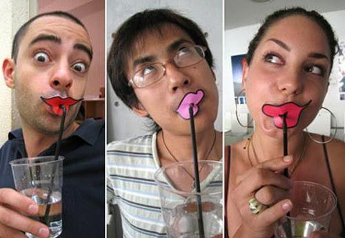 Lips Drinking Straws