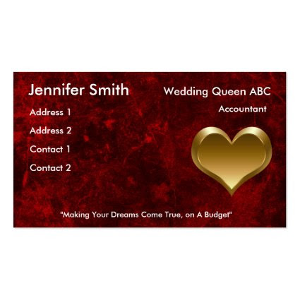 Romantic red with gold heart - Printed Business Cards