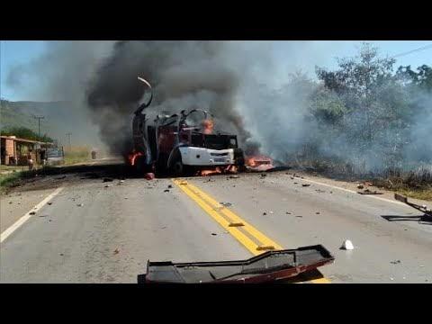 Bandidos armados explodem carro-forte entre as cidades de Mombaça e Acopiara-CE