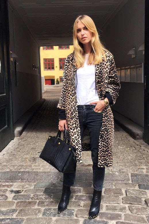 Le Fashion Blog Fall Street Style Pernille Teisbaek Blonde Hair Leopard Coat White Tee Gold Watch Denim Embellished  Pointed Toe Leather Boots Black Bag Via The You Way