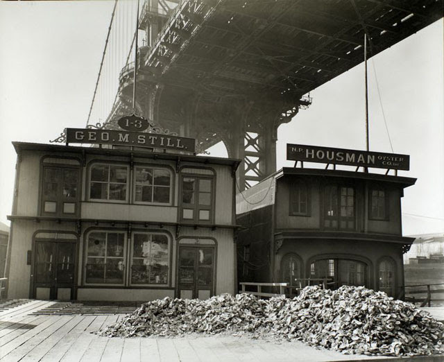 Oyster Houses, South Street and Pike Slip, Manhattan. George M. Still and N.P. Housman Oyster Co.'s with piles of oyster shells in front and the Manhattan Bridge above.