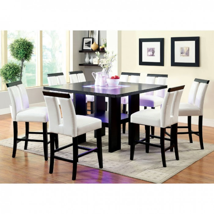 Luminar Ii Espresso Wood Embedded Led Lights Dining Set Shop For Affordable Home Furniture Decor Outdoors And More