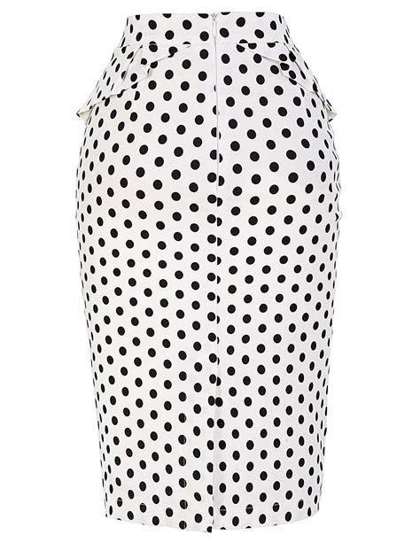 Black And White Polka Dot Vintage Pencil Skirt   Vintage