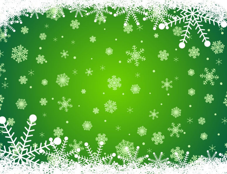 Green Christmas Background with Snowflakes   Free Vector ...