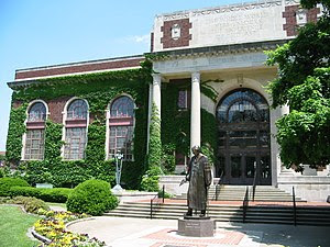 Personal photo of Pogue Library and statue of ...
