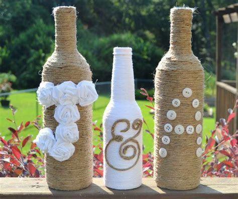 Custom twine wrapped wine bottles / Rustic wedding decor