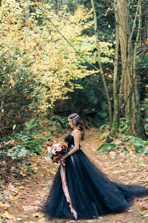 Woodland Nymph in a Black Wedding Dress · Rock n Roll Bride