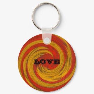 Red Yellow Love Keychain_Romantic Art Gift keychain