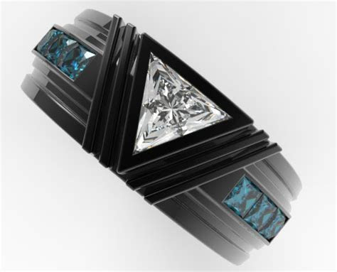 Black Gold Triangle Diamond Wedding Ring For A Men   Vidar