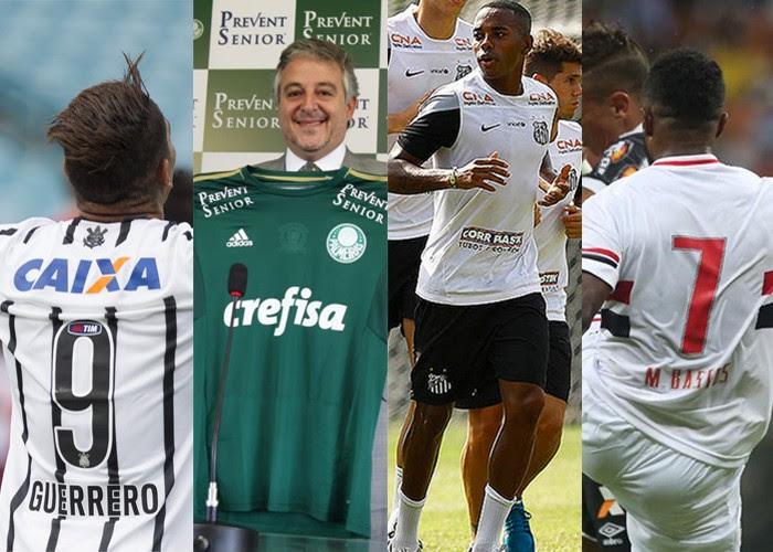 Patrocínios de Corinthians, Palmeiras, Santos e São Paulo em 2015