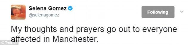 Heartbroken: uma série de estrelas publicamente compartilhou seu apoio para Ariana nas mídias sociais nos dias que se seguiram (acima)