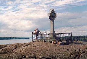 croix celtique de pierre de Birka, Suede, commemorant l'evangelisation par saint Anschaire