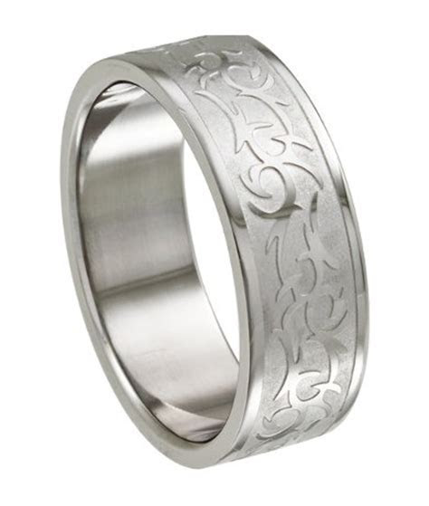 Stainless Steel Ring for Men With Tribal Design, 8.5mm