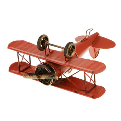 Metal Airplane Model Biplane Military Aircraft Home Decor Collectibles Red Models Kits Military