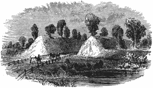 Drawing of a road passing between two parallel mounds