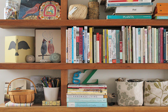 The new shelves in the studio