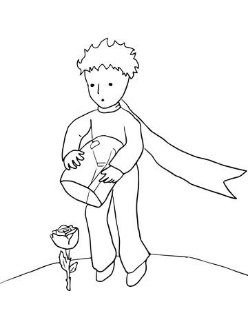 Disegno Di Il Piccolo Principe Protegge La Sua Rosa Da Colorare