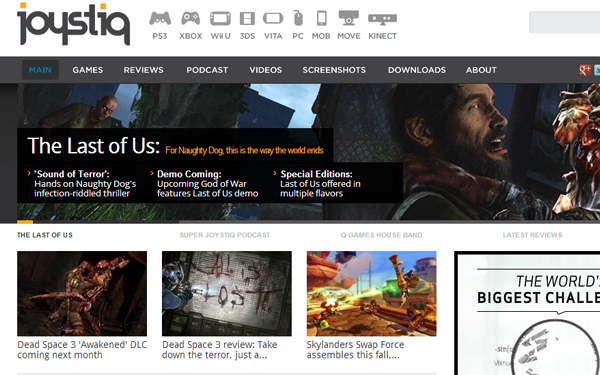 joystiq blog magazine layout posts