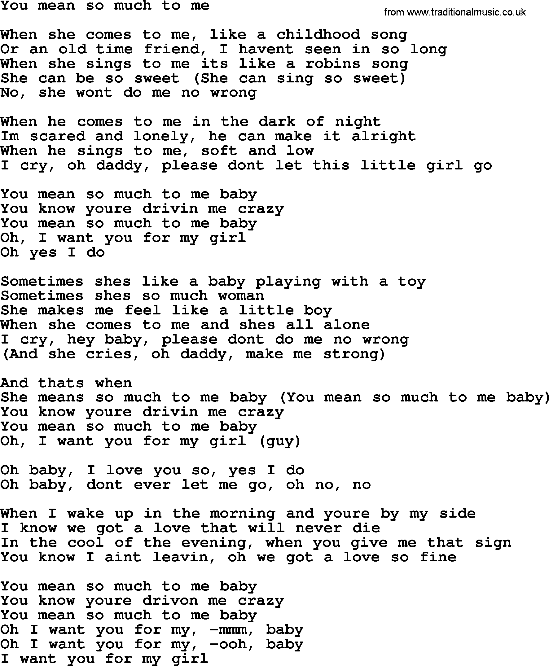 Bruce Springsteen Song You Mean So Much To Me Lyrics